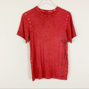 GUESS Red Crew Neck Distressed T-Shirt XS